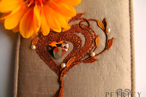 Three Hearts - Rich Brown on Beige